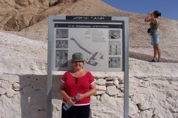 Sam outside the information board for King Tutankhamun.