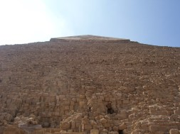 Looking up at the Pyramid of Khafre, the second largest pyramid.