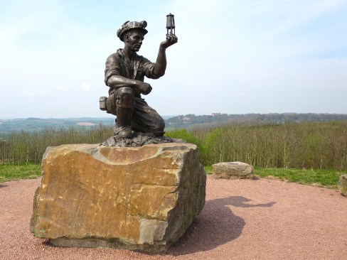 The Miner. Statue on the summit of Silverhill, Teversal.