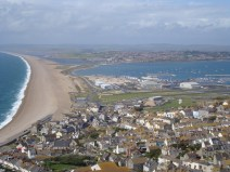 Chesil Beach viewed from the isle of Portland.