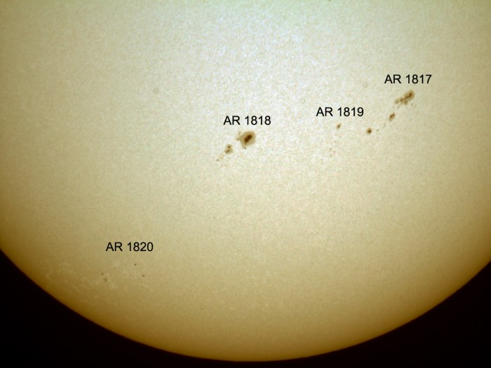 Sunspot active regions 1817 and 1818 in the suns southern hemisphere