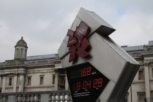 Olympic countdown clock at Trafalgar Square