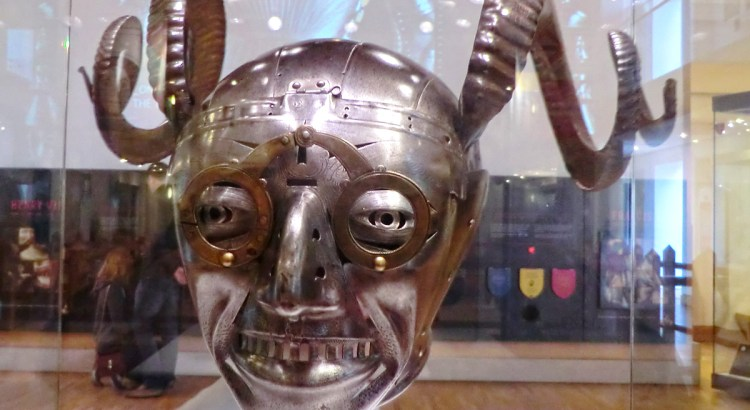 Horned Helmet, a gift to Henry VIII from the Holy Roman Emperor Maximillan 1 in 1514. This, as part of a suit of armour, was purely ceremonial, it never saw battle.