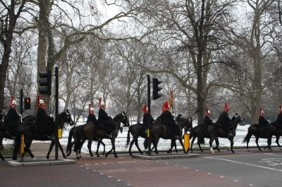 Household Cavalry Regiment starting out from Hyde Park Barracks.