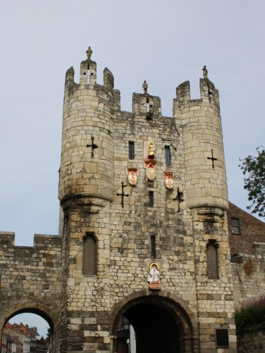 Micklegate Bar. The entry from London and the south. Heads were exposed here including those of Lord Scrope of Masham in 1415 for conspiring against Henry V before Agincourt and the Earl of Devon after the battle of Towton in 1461.