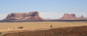 A wide angle view of Monument Valley from Goulding's Lodge.