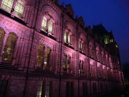 Natural History Museum exterior night time shot