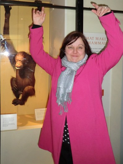 Sam monkeying around at the Natural History museum