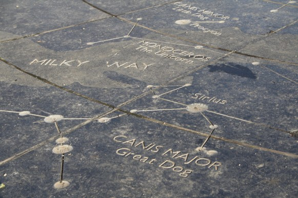 Constellations in the black granite