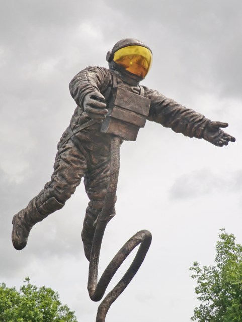 The Pioneer. Statue showing US astronaut Ed White walking in Space during the Gemini 4 mission.