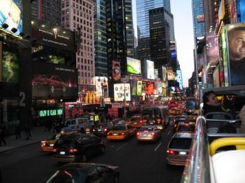 Times Square evening bus tour. Quite possibly the coldest tour ever