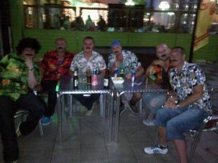 Hombres with nice tache's, even nicer shirts