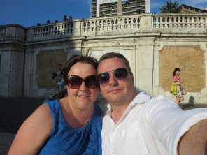 A selfie of Mr and Mrs Cook on the Spanish Steps during their honeymoon.