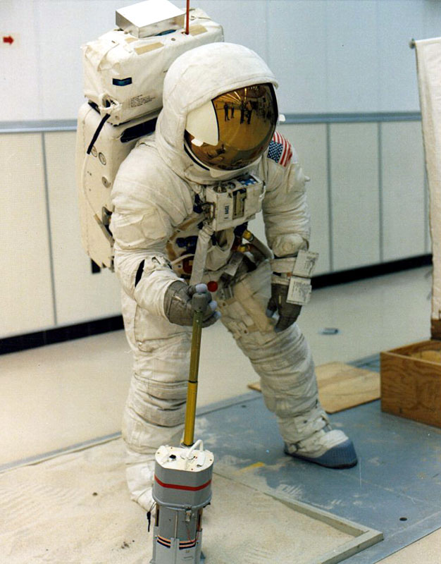 Fred Haise practices use of the Apollo Lunar Surface Close-up Camera