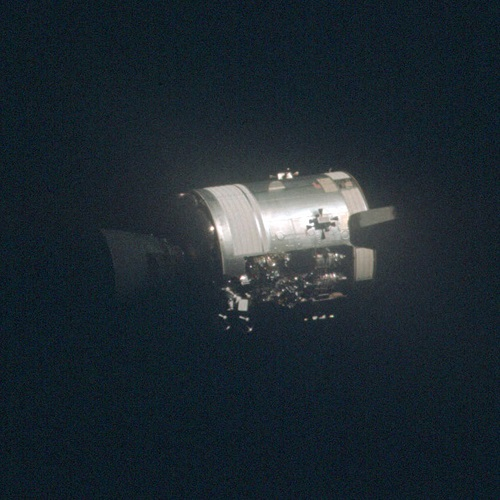 The damaged Apollo 13 Command Module.