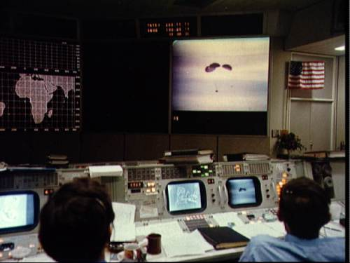 Mission Control during the Apollo 13 splashdown
