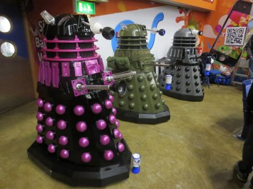 Misunderstood creatures... After a hard days interplanetary conquest, Dalek do-gooders collecting cash for charity.