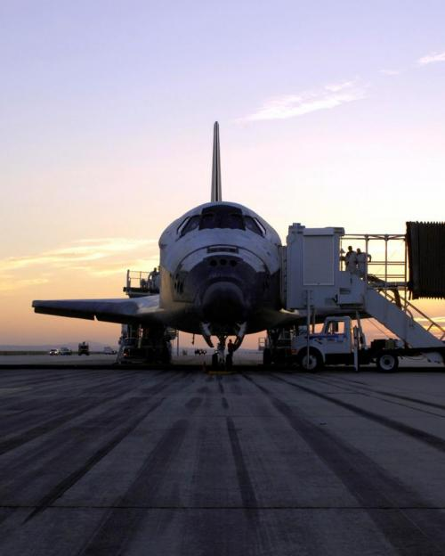 Space Shuttle Discovery after safe landing at Edwards Air Force Base