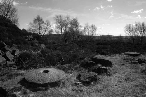 Millstone Edge abandoned gritstone mill circles.