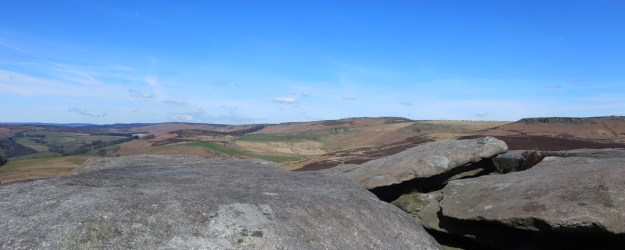 Surprise View from Over Owler Tor towards Higger Tor and Carl Wark hill fort.