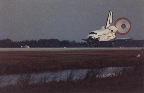 The first female pilot of the Space Shuttle, Eileen Collins, lands Discovery on STS-63.