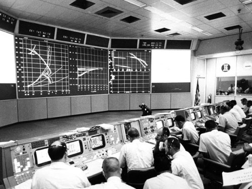 Chuck Deiterich in Th Trench at mission Control during the Apollo 11 landing.