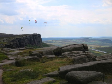 Stanage Edge paragliders towards Hook's Car Car Park.