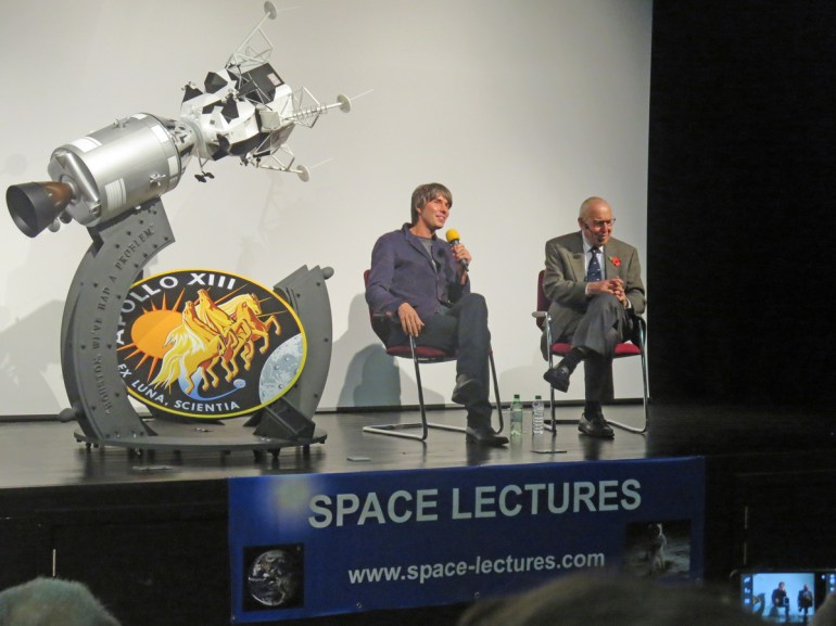 Professor Brian Cox and Jim Lovell during the www.space-lectures.com Q & A session