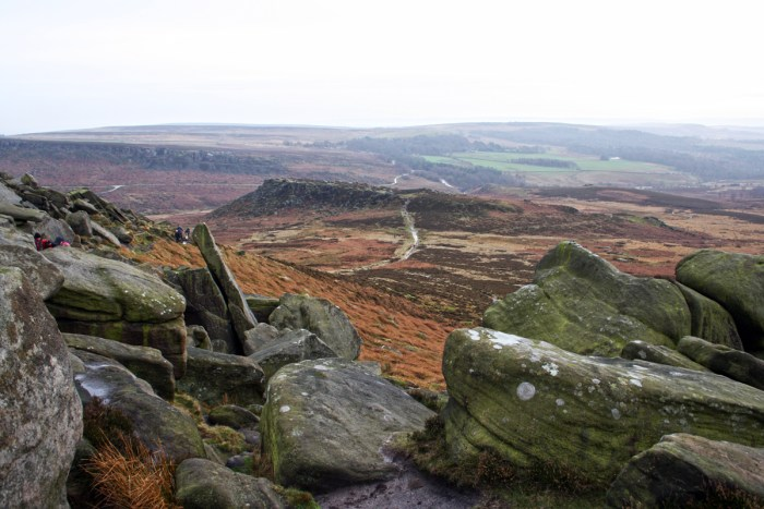 Hathersage Moor. The view from Higger Tor of Carl Wark.