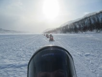 Snowmobile convoy behind us, we were first.