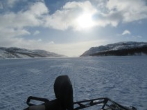 The wilderness of the Barents sea while snowmobiling