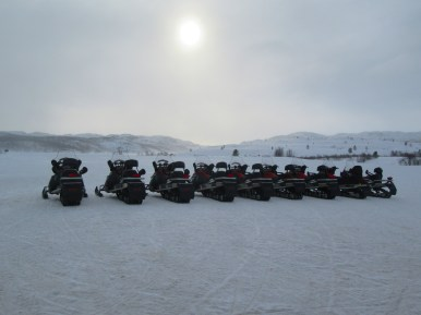 Snowmobile line up at Kirkenes