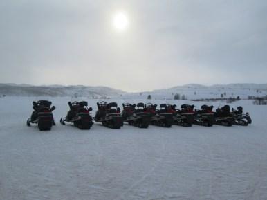Snowmobile line up at Kirkenes