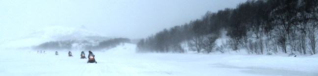 Snowmobile safari in Kirkenes. Our view looking back from our Snowmobile.