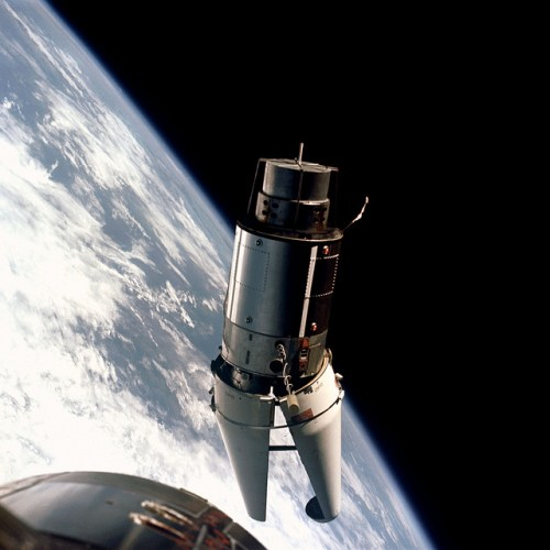"The Agena target vehicle described by the Gemini 9 crew as an ""angry alligator. """
