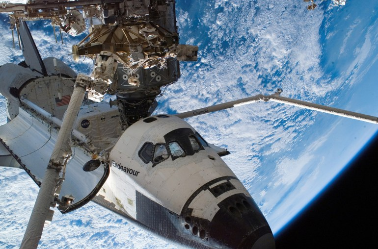 Space Shuttle Endeavour docked with the ISS during STS-118