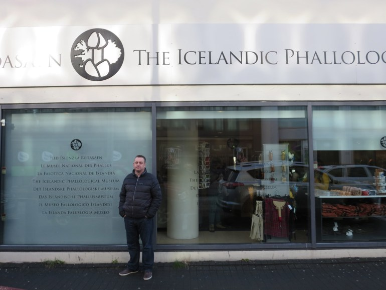 Feeling a dick outside the Icelandic Phallological Museum