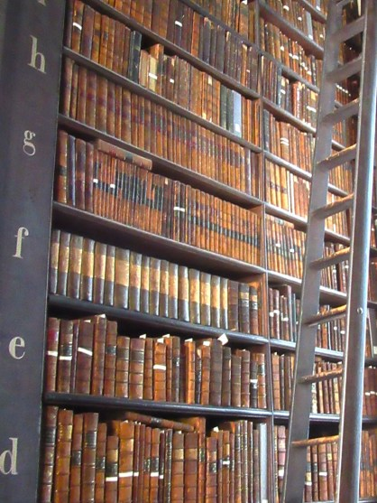 Shelves of books at the Long Room