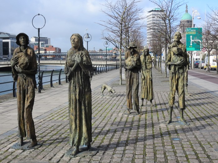 The Famine Memorial to commemorate the Great Famine of the mid 19th century. Approximately 1 million people died and a million more emigrated from Ireland, causing the island's population to fall by between 20% and 25%. The cause of Famine is blamed on a potato disease commonly known as potato blight.