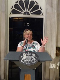 Sam giving her first press briefing at 10 Downing Street