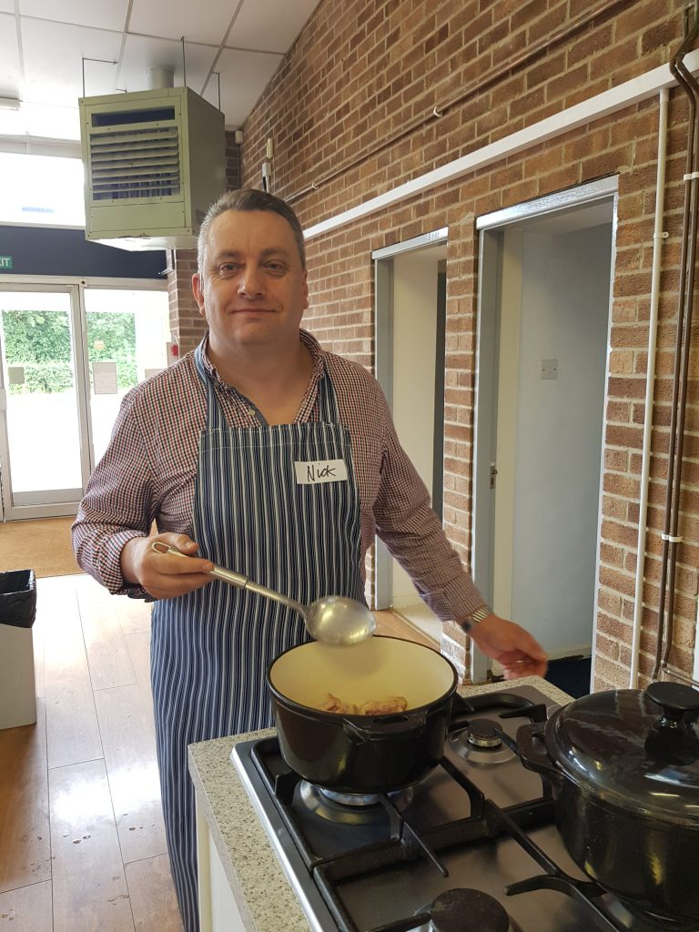 Nick making chicken bhuna at the Nottingham School of Cookery