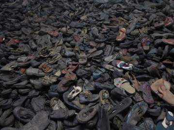 Mound of shoes at Auschwitz
