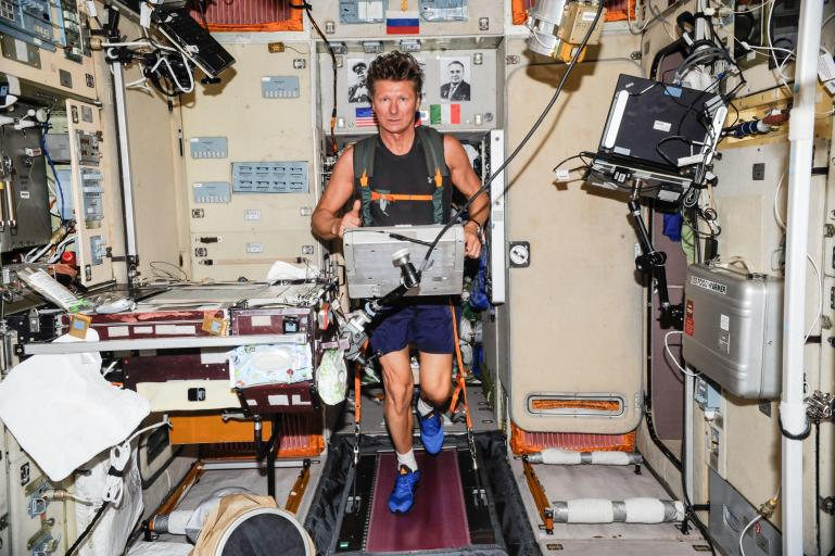 Gennady Padalka on a treadmill on the ISS