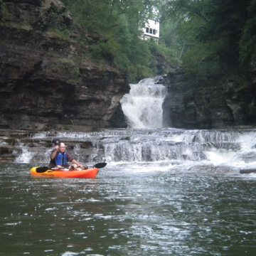kayaking happy scenic campground waterfall