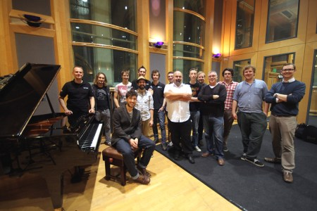 With the crew at Air Studios, to record my song Mountain with Nick and the Sun Machine