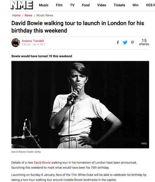 NME - David Bowie Walking Tour, Nick Stephenson Music