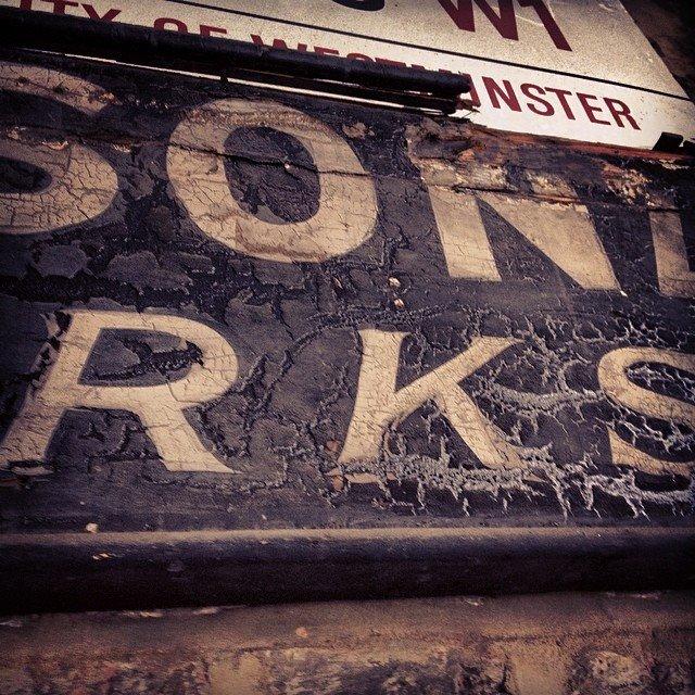 Vintage lettering Ghost sign Soho