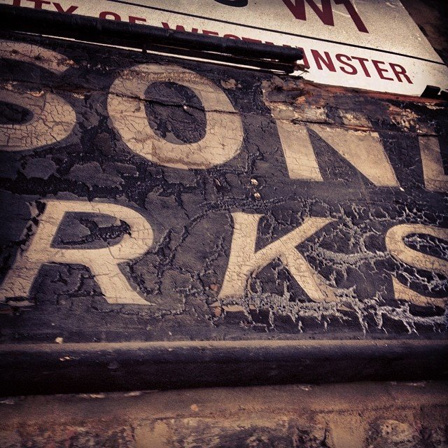 Vintage lettering Ghost sign Soho