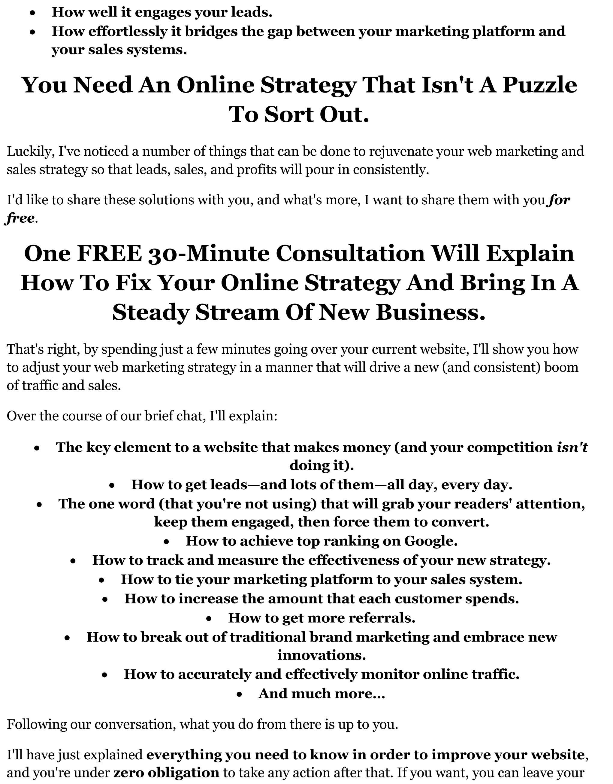 Lumpy Sales Letter For Web Marketing Strategist Nick Hilden