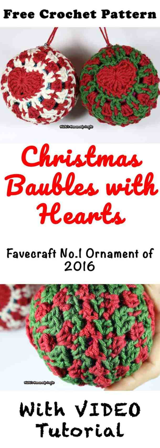 Christmas Baubles with Heart - Free Crochet Pattern by Nicki's Homemade Crafts #crochet #christmas #baubles #hearts #ornament